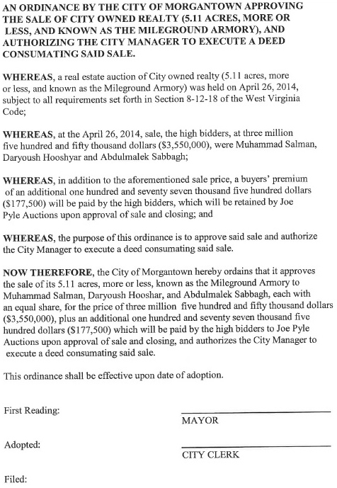 a copy of Ordinance on the May 6, 2014 agenda for the City Council meeting